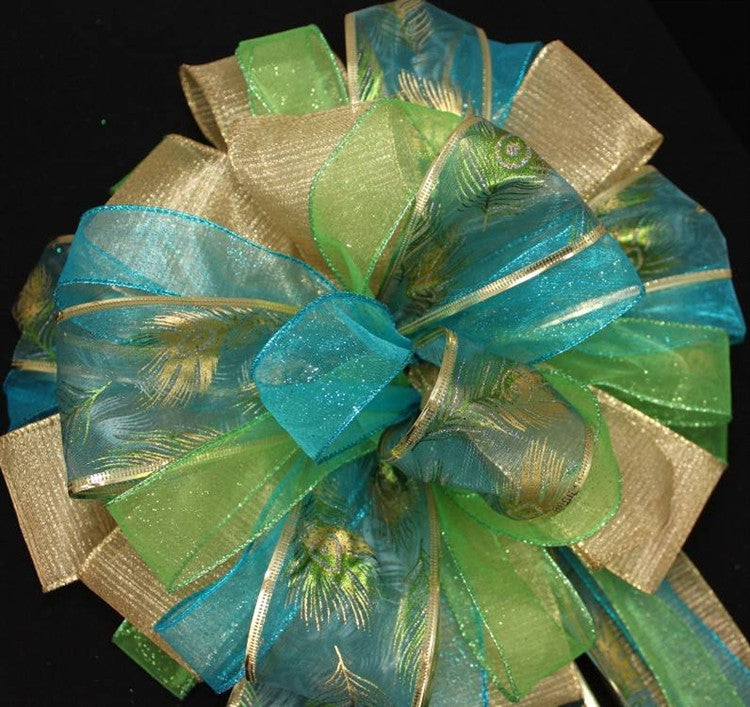 Peacock Sparkle Christmas Tree Topper Bow - Package Perfect Bows - 3