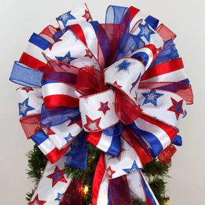 Patriotic Stars Stripes Christmas Tree Bow Topper Bow - Package Perfect Bows