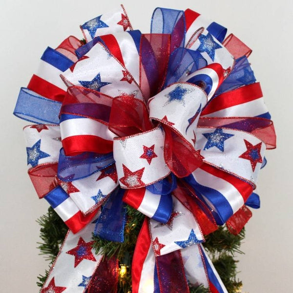 Patriotic Stars Stripes Christmas Tree Topper Bow - Package Perfect Bows