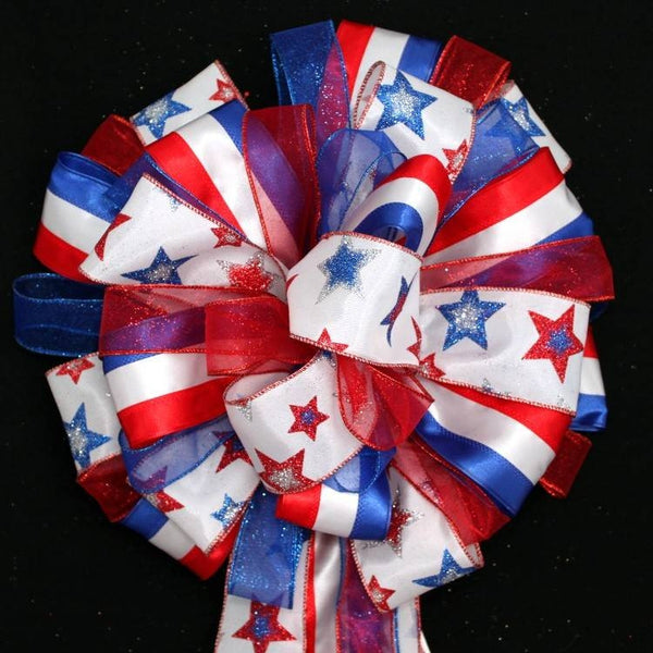 Patriotic Stars Stripes Christmas Tree Bow Topper Bow - Package Perfect Bows - 1