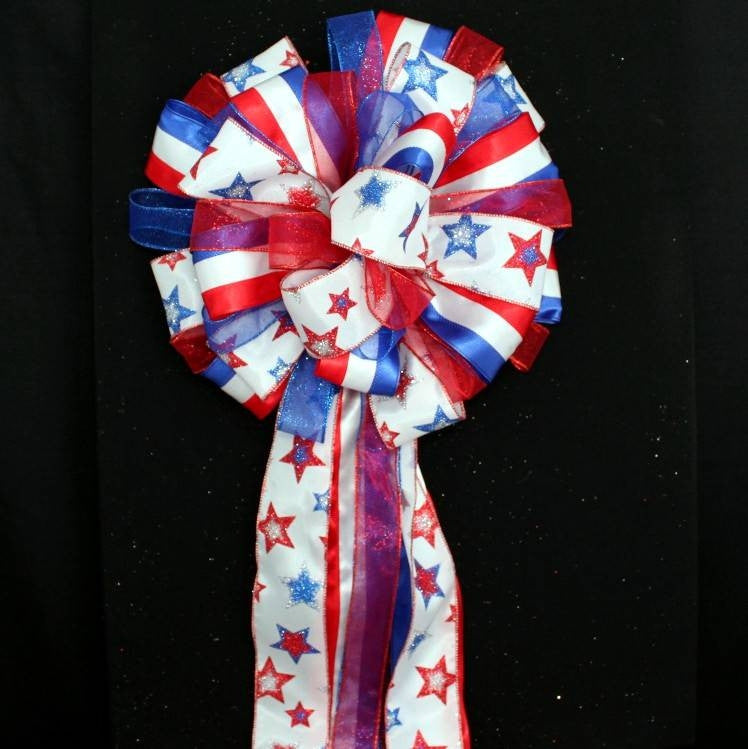 Patriotic Stars Stripes Christmas Tree Bow Topper Bow - Package Perfect Bows - 3