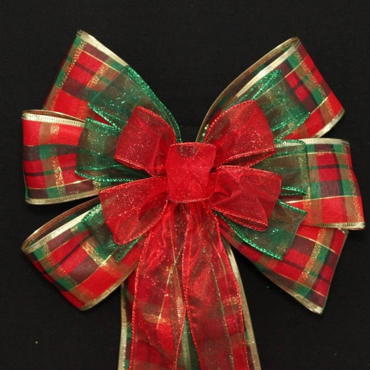 Traditional Plaid Glitter Wire Edge Christmas Bows - Package Perfect Bows - 1
