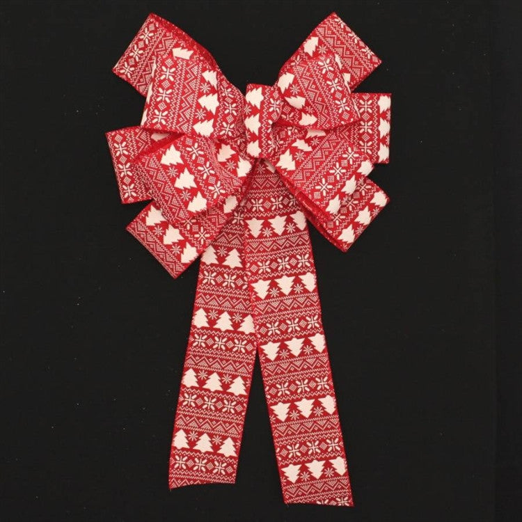 Red Ivory Tree Burlap Christmas Bow - Package Perfect Bows - 1