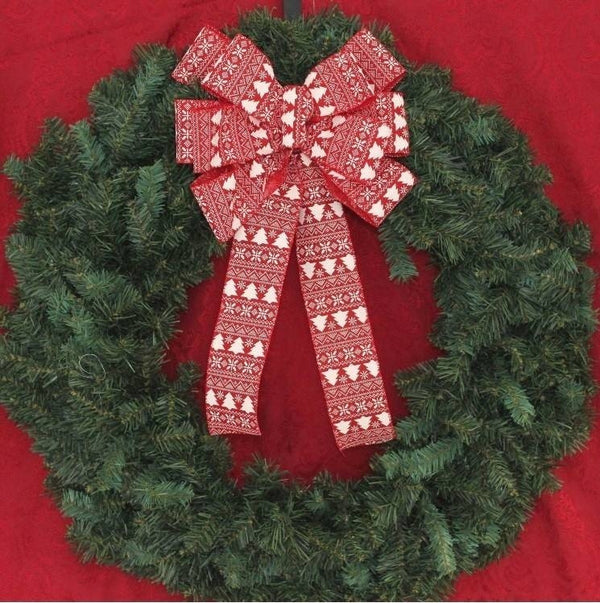 Burlap And Red Christmas Tree: Red Ivory Tree Burlap Christmas Bows Tree Topper