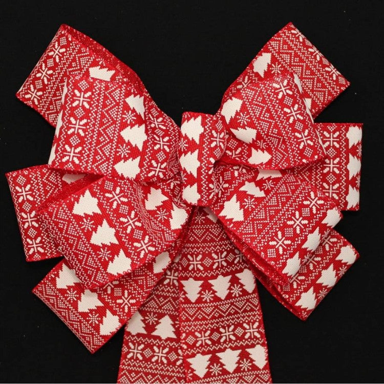 Red Ivory Tree Burlap Christmas Bow - Package Perfect Bows - 3