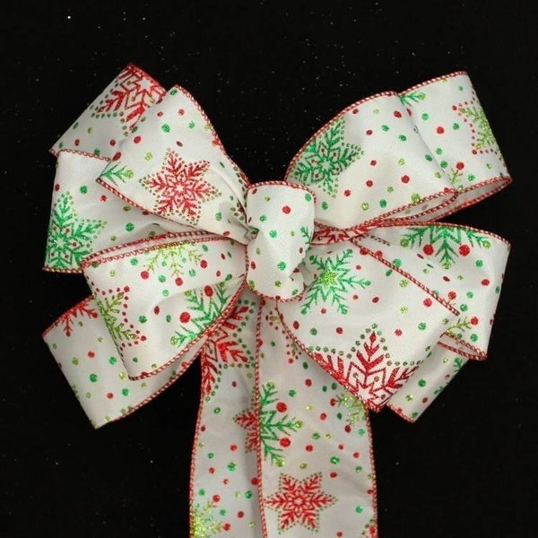Contemporary Glittered Snowflake Christmas Bow - Package Perfect Bows - 1