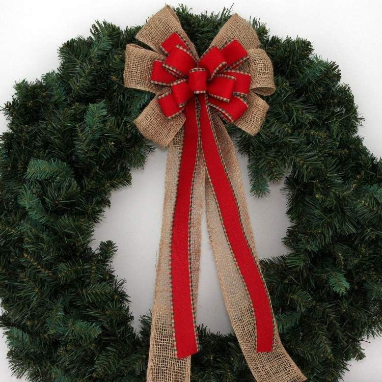 Burlap Red Woven Plaid Christmas Bow - Package Perfect Bows - 4