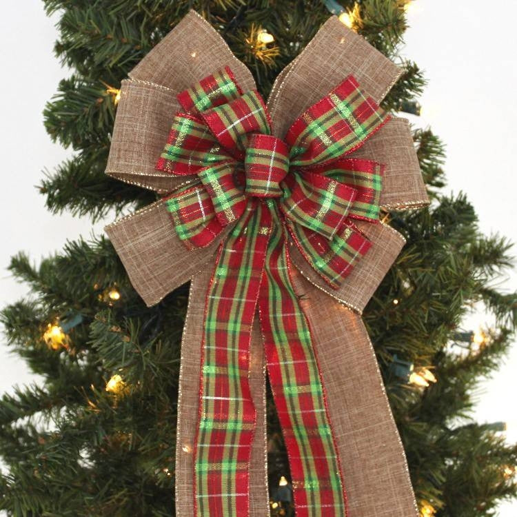Holiday Plaid Burlap Christmas Bow - Package Perfect Bows - 2
