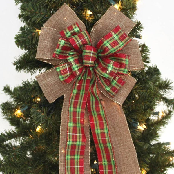 Holiday Plaid Burlap Christmas Bow - Package Perfect Bows - 1