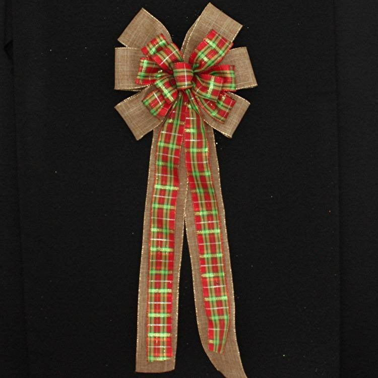Holiday Plaid Burlap Christmas Bow - Package Perfect Bows - 3