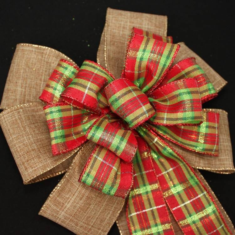Holiday Plaid Burlap Christmas Bow - Package Perfect Bows - 4