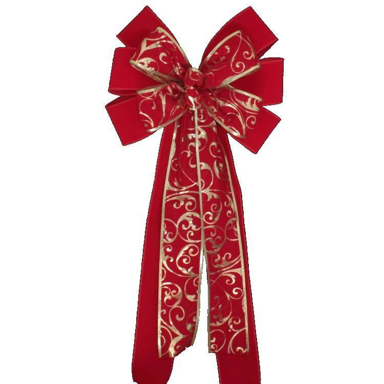Red Velvet Gold Lame Swirl Christmas Bow - Package Perfect Bows - 2