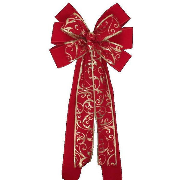 Red Velvet Gold Lame Swirl Christmas Bow - Package Perfect Bows - 1
