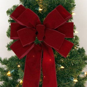 Burgundy Velvet Wire Edge Christmas Bow - Package Perfect Bows