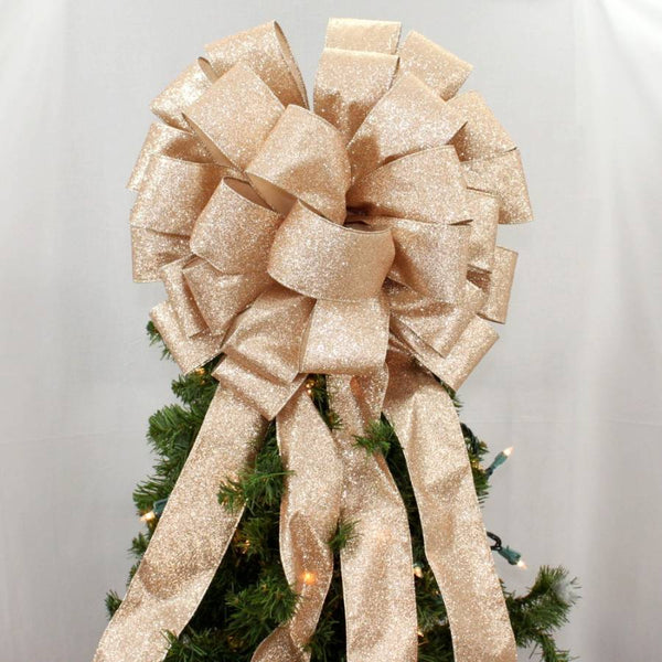 Gold Sparkle Lame Christmas Tree Topper Bow
