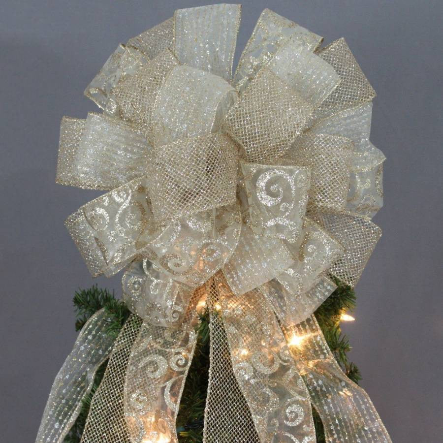 Gold Sparkle Mesh Swirl Christmas Tree Topper Bow - Package Perfect Bows - 1
