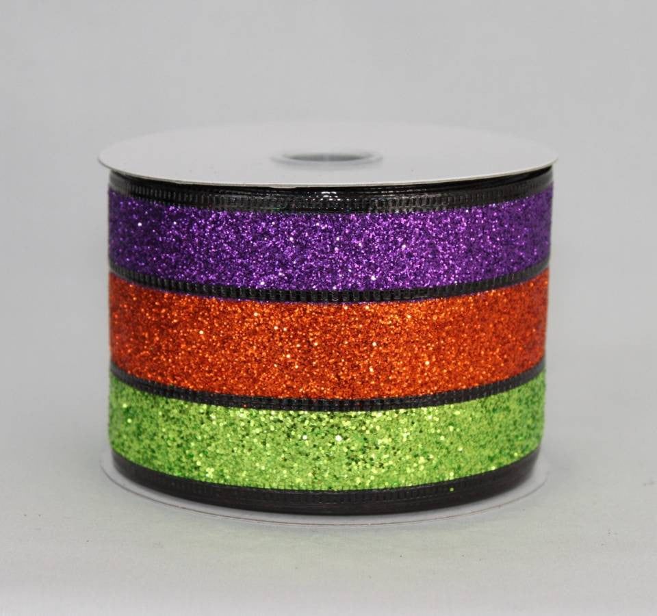 "2.5"" Sparkle Stripe Halloween Wire Edge Ribbon (10 yards) - Package Perfect Bows - 2"