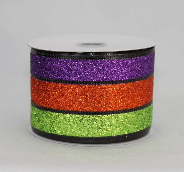 "2.5"" Sparkle Stripe Halloween Wire Edge Ribbon (10 yards) - Package Perfect Bows - 1"