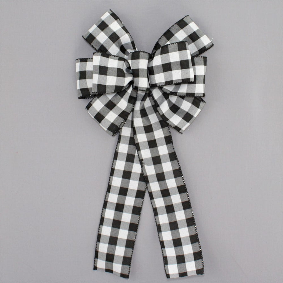 Black White Buffalo Plaid Christmas Bow - Package Perfect Bows