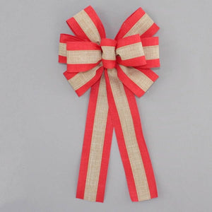 Red and Natural Rustic Wreath Bow - Package Perfect Bows