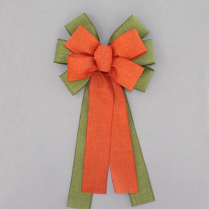 Moss Green Orange Rustic Fall Bow