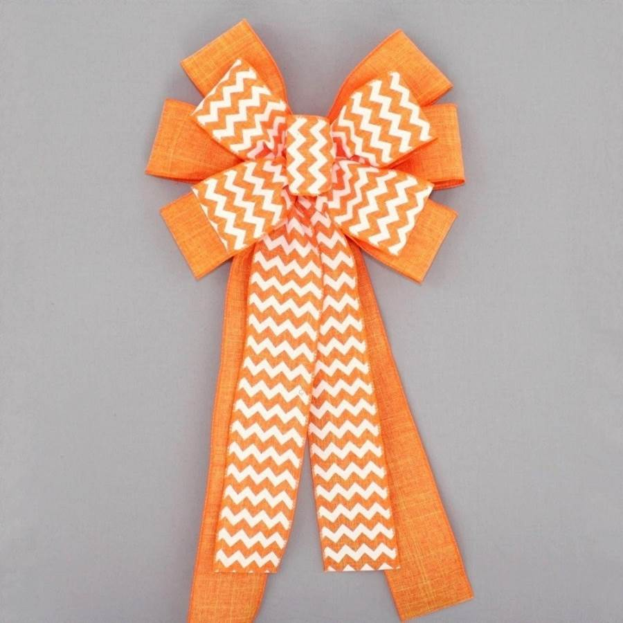 Bright Orange Chevron Linen Halloween Fall Bow