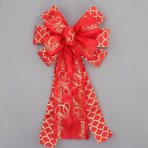 Red Gold Merry Chrismtas Script Trellis Bow