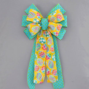 Yellow Egg Turquoise Polka Dot Easter Bow