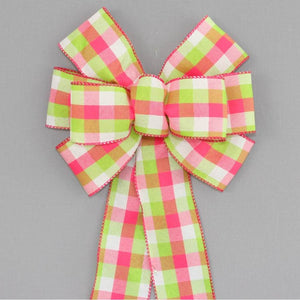 Green Hot Pink  Buffalo Plaid Wreath Bow