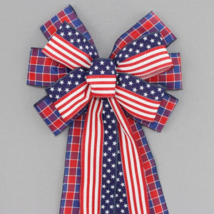 Patriotic Plaid Flag Wreath Bow