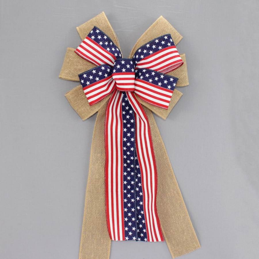 Patriotic Flag Burlap Wreath Bow