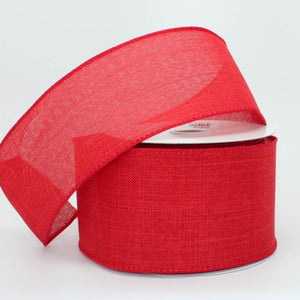 "2.5"" Red Linen Wire Edge Ribbon (10 yards)"