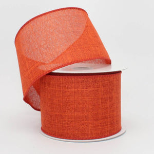 "2.5"" Burnt Orange Linen Fall Wire Edge Ribbon (10 yards)"