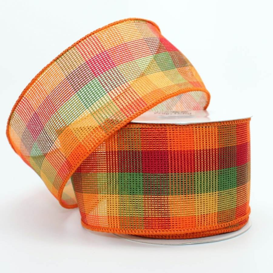 "2.5"" Fall Check Wire Edge Ribbon (10 yards)"