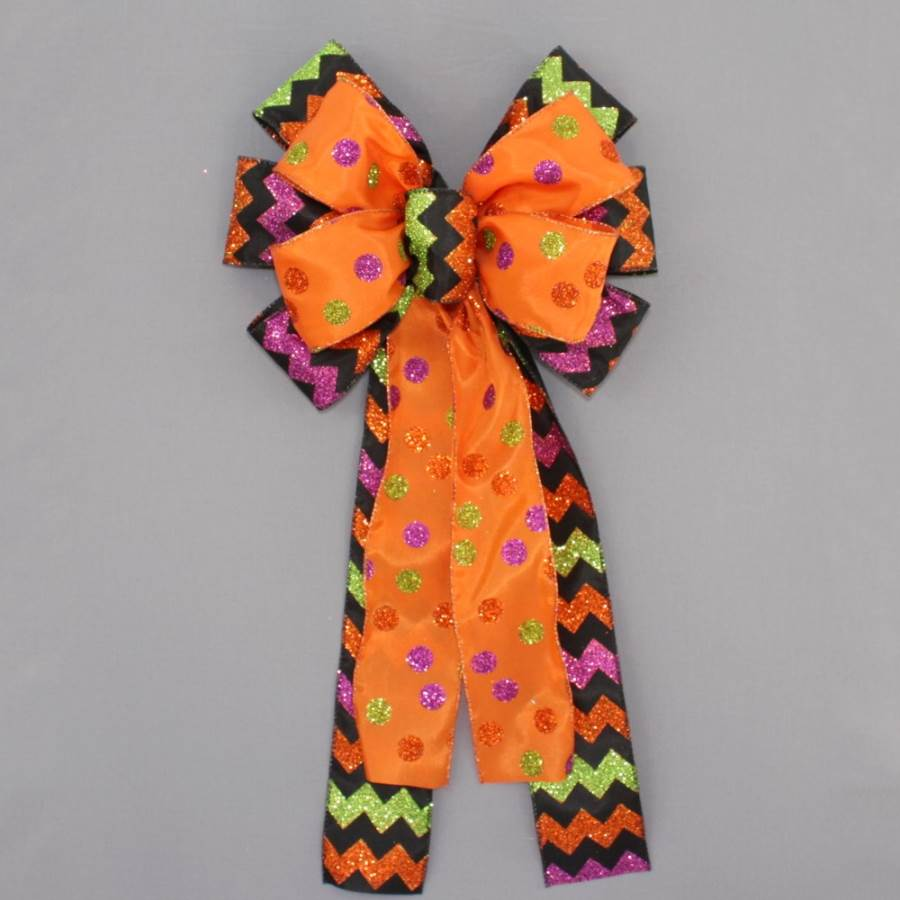 Halloween Sparkle Dot Chevron Bow - Package Perfect Bows