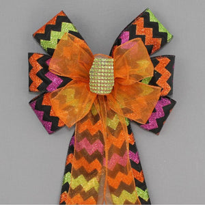 Bling Sparkle Chevron Halloween Bow