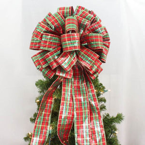Red Metallic Plaid Christmas Tree Topper Bow