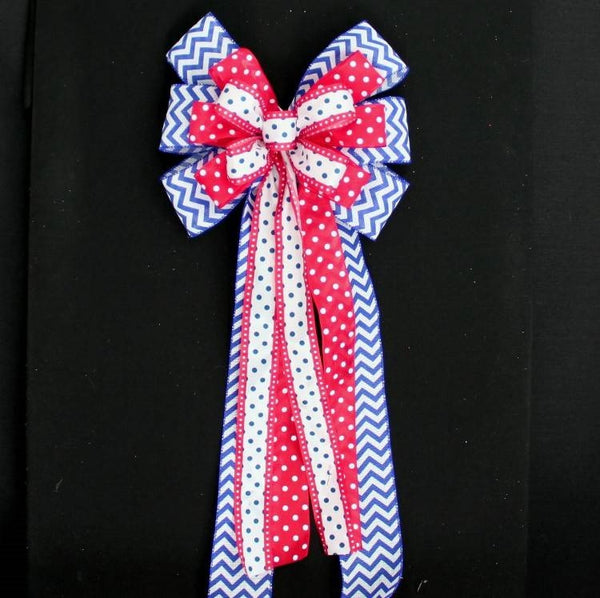 Blue Chevron Red Polka Dot Patriotic Bow - Package Perfect Bows - 1