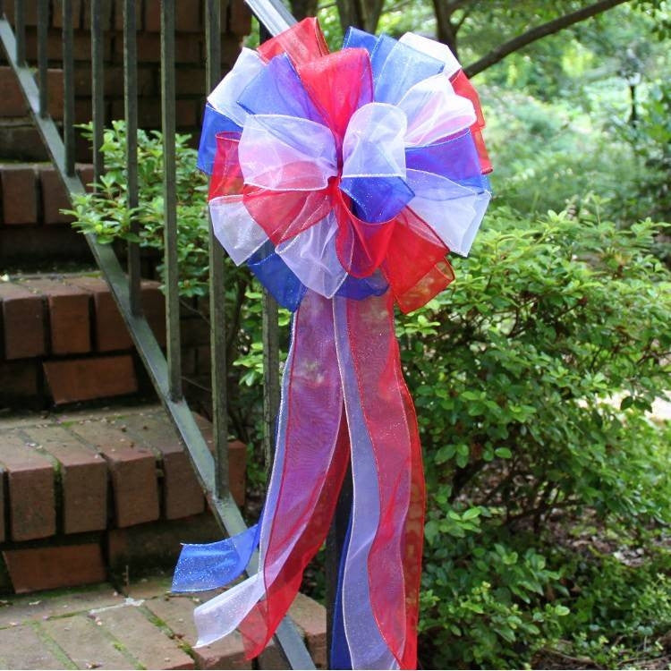 Red White Royal Blue Sparkle Bow - Package Perfect Bows - 3