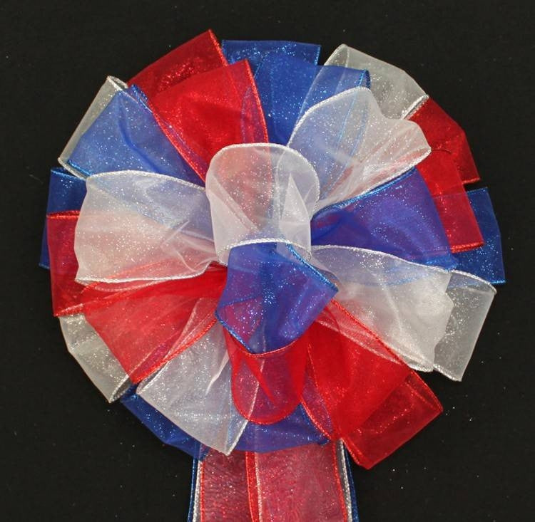 Red White Royal Blue Sparkle Bow - Package Perfect Bows - 1