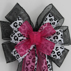 Hot Pink Sparkle Leopard Print Black Mesh Bows - Package Perfect Bows