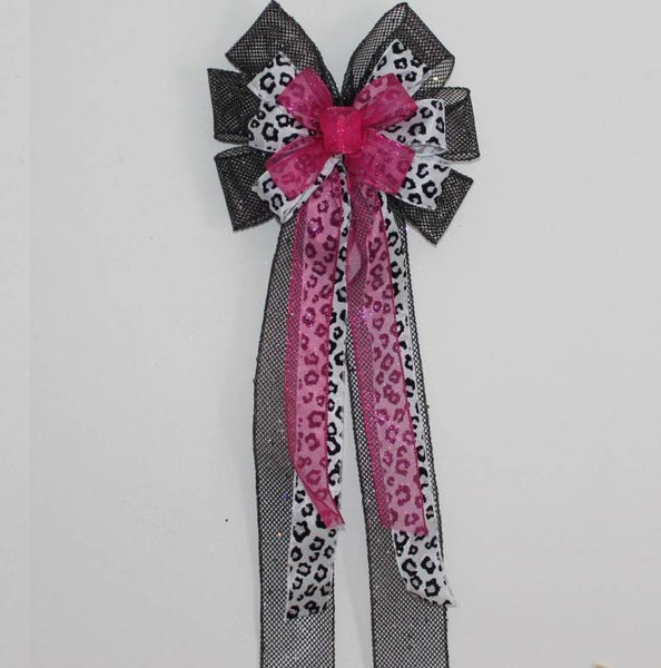 Hot Pink Sparkle Leopard Print Black Mesh Bows - Package Perfect Bows - 1
