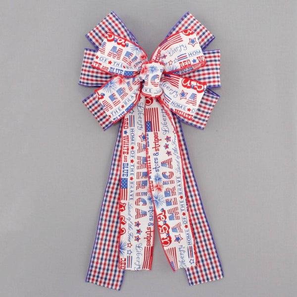 America Script Plaid Patriotic Wreath Bow