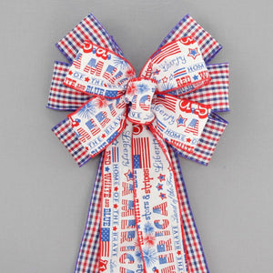 America Script Plaid Patriotic Wreath Bow - Package Perfect Bows