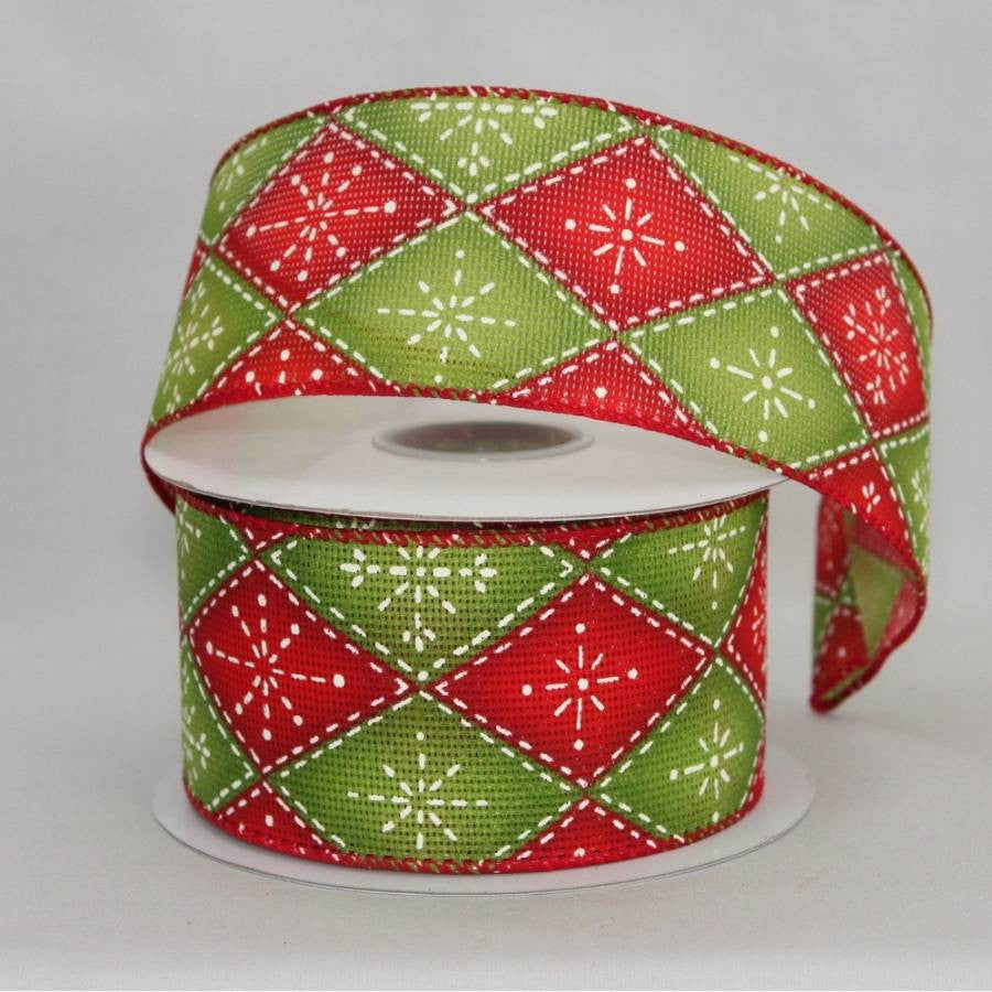 "2.5"" Rustic Argyle Snowflake Wire Edge Ribbon (10 Yards) - Package Perfect Bows - 1"