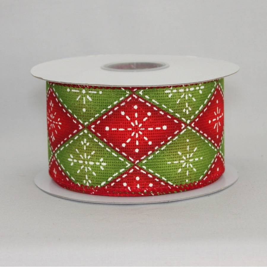 "2.5"" Rustic Argyle Snowflake Wire Edge Ribbon (10 Yards) - Package Perfect Bows - 2"