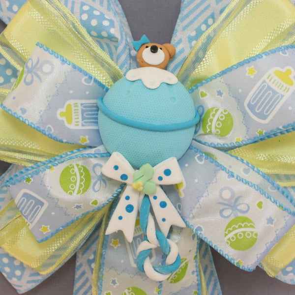 Blue Bear Boy Baby Shower Bow