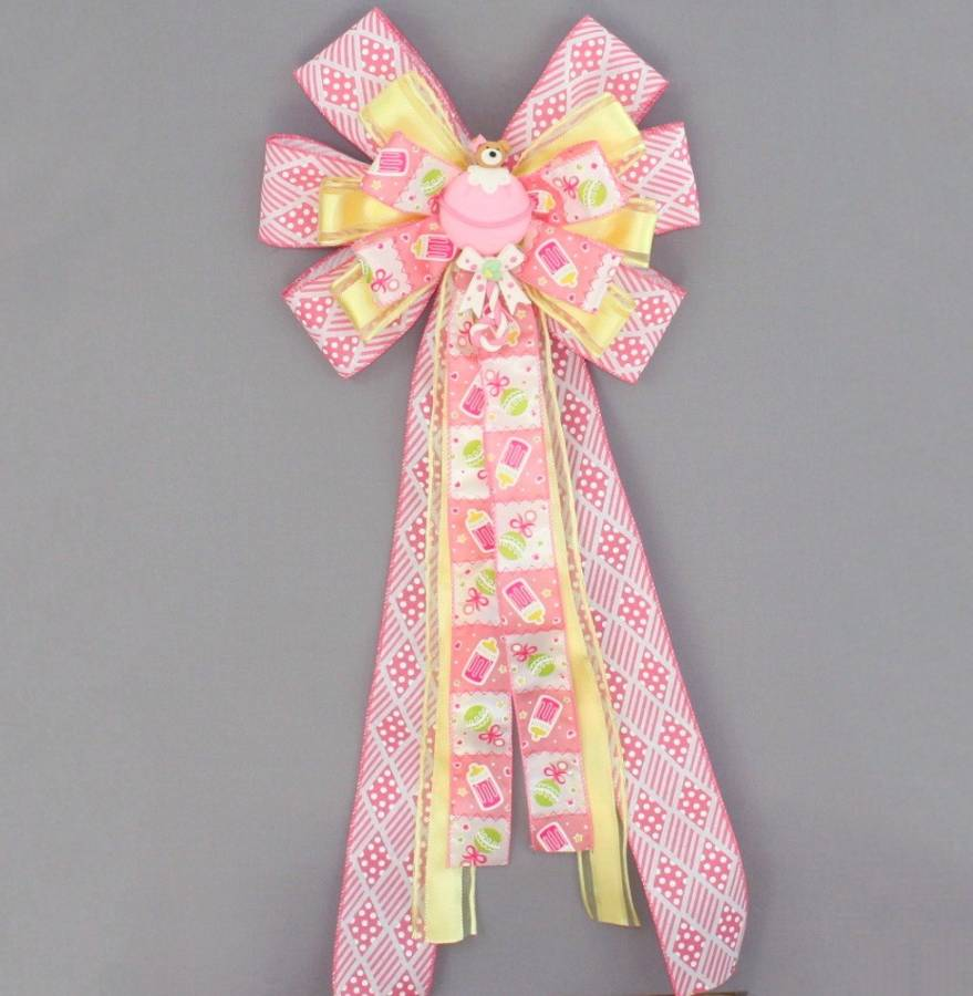 Pink Bear Girl Baby Shower Bow