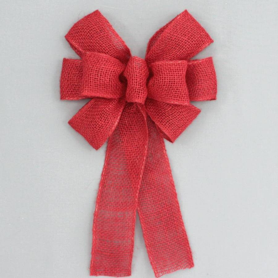Red Burlap Rustic Wreath Bow - Package Perfect Bows