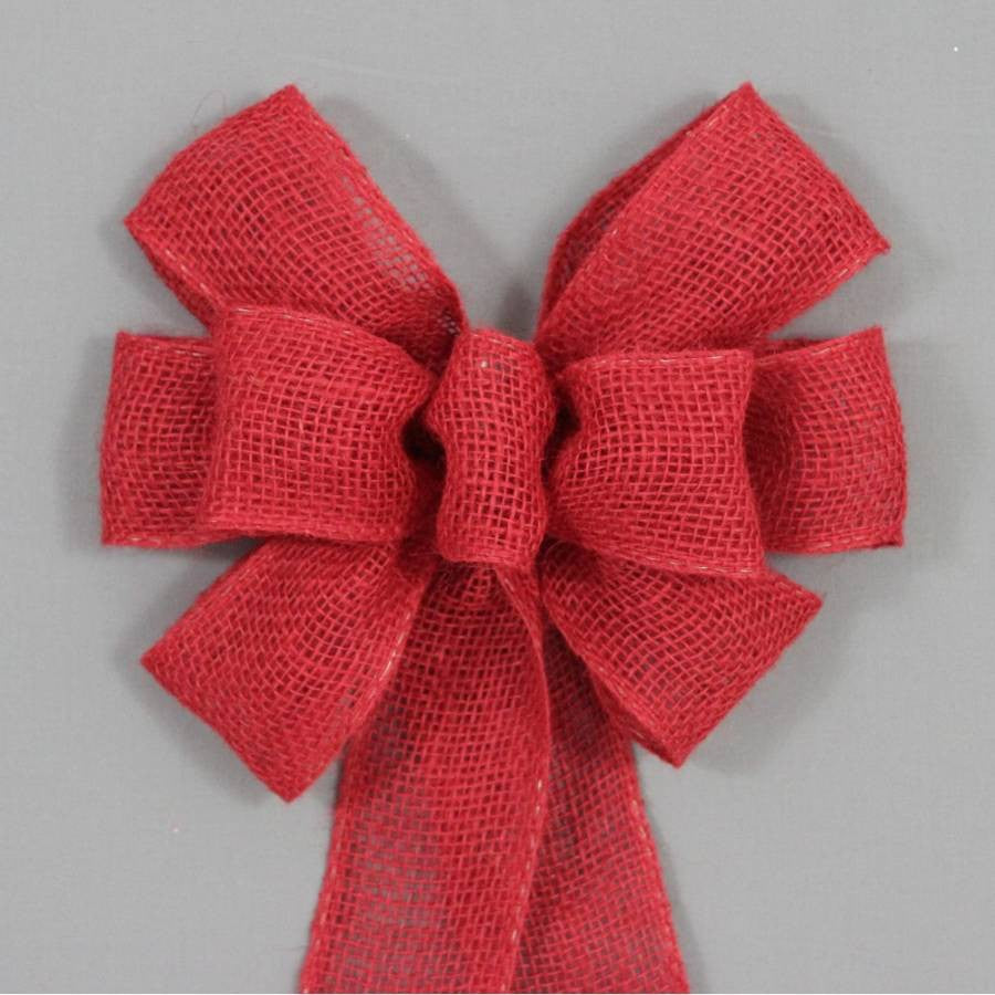 Red Burlap Rustic Wreath Bow